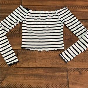 Navy White Striped Nautical Cropped Long Sleeve T